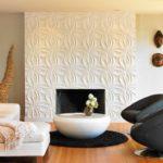 Гипсовые рельефные панели в интерьере гостиной