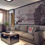 Японский стиль в интерьере гостиной фото