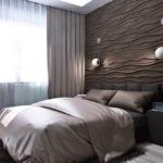 3д панели в интерьере стильной спальни