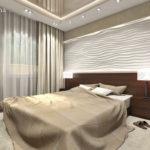 Рельефные панели в интерьере спальни