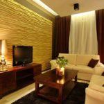 Дизайн гостиной с рельефными панелями фото