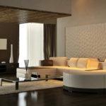 Дизайн просторной гостиной с рельефными панелями фото