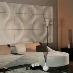 Оригинальные 3д панели в интерьере гостиной