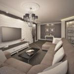 Органичное оформление гостиной с 3d панелями