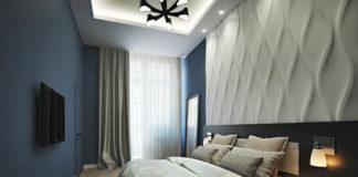 Рельефные панели в интерьере спальной комнаты фото