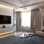 Органичное оформление гостиной с применением 3d панелей
