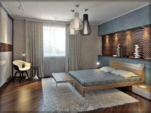 Деревянные 3д панели в интерьере спальни