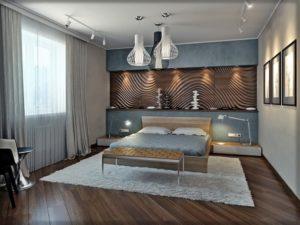 Деревянные 3д панели в интерьере спальни фото