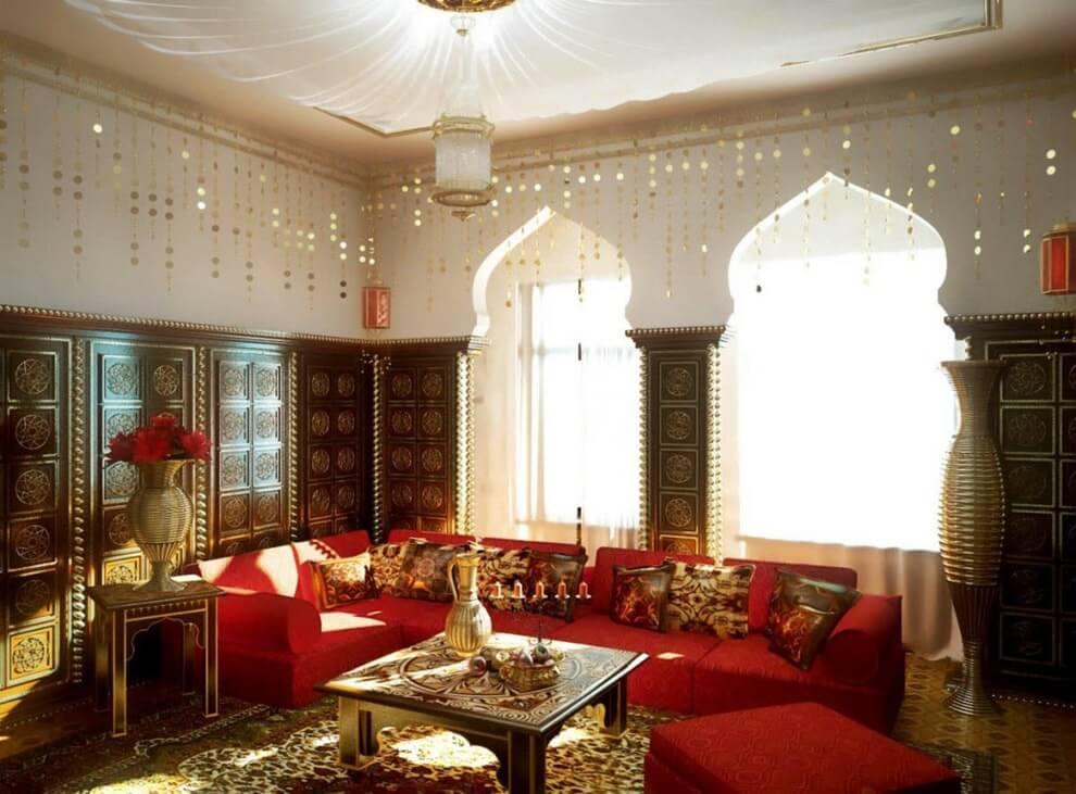 Арабский стиль в интерьере гостиной комнаты