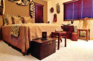 Пол спальной комнаты в африканском стиле