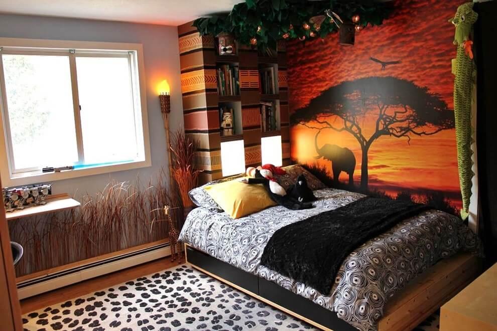 Фотообои в африканском стиле в интерьере детской комнаты