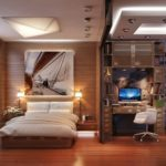Визуальное разделение спальни и рабочего кабинета перегородкой