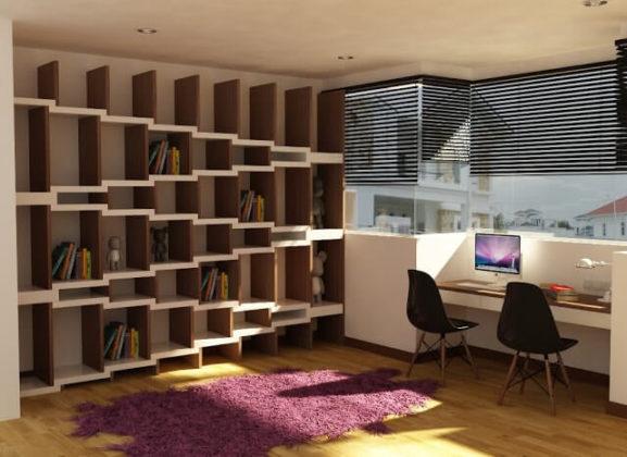 Креативный стеллаж в интерьере квартиры