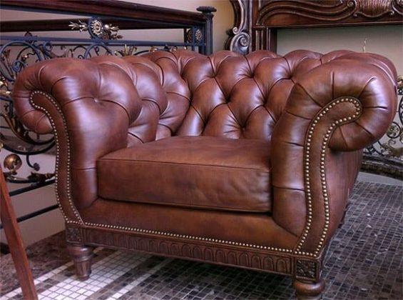 Роскошное кожанное кресло с применение капитоне фото
