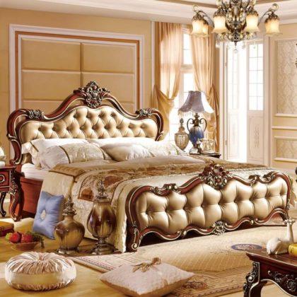 Украшение кровати каретной стяжкой