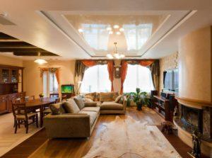 Многоярусный потолок как прием зонирования интерьера
