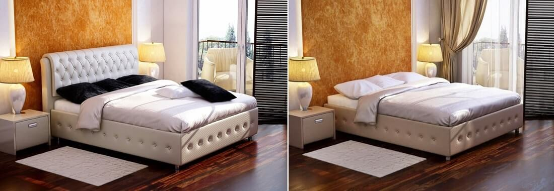 Кровать с изголовьем и без
