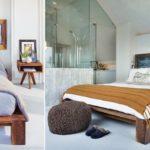 Кровать из массива с оригинальным изголовьем в стиле минимализм фото