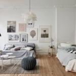 Интерьер спальной комнаты в скандинавском стиле