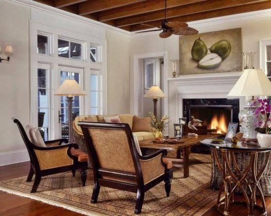 Колониальный стиль в интерьере гостиной