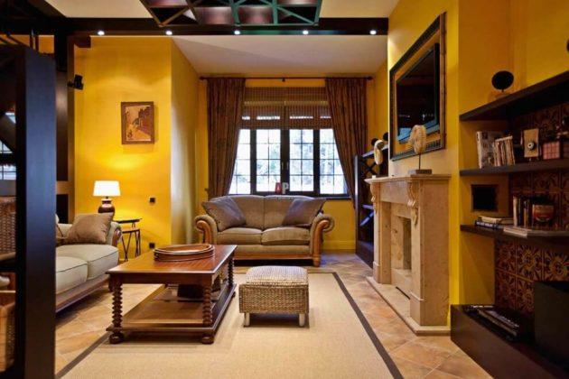 Колониальный стиль в интерьере гостиной фото