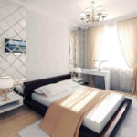 Стильный дизайн интерьера спальни с применением зеркальной плитки