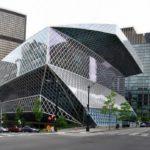 Здание городской библиотеки в стиле деконструктивизм