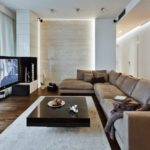 Интерьер гостиной комнаты в стиле лаунж - фото