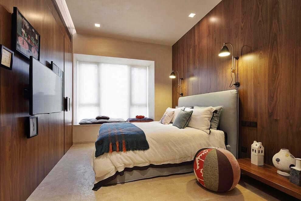 Интерьер спальни в стиле лаунж