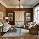 Оформление гостиной комнаты в коричневом цвете