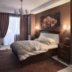 Интерьер спальни в коричневом цвете