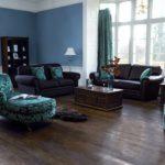 Интерьер гостиной комнаты в синем цвете