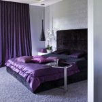 Интерьер спальной в фиолетовом цвете - фото