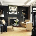 Черный интерьер гостиной комнаты