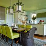 Зеленый цвет в интерьере столовой