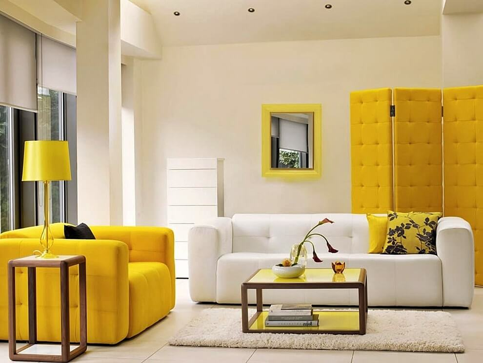 Сочетание желтого и белого в интерьере