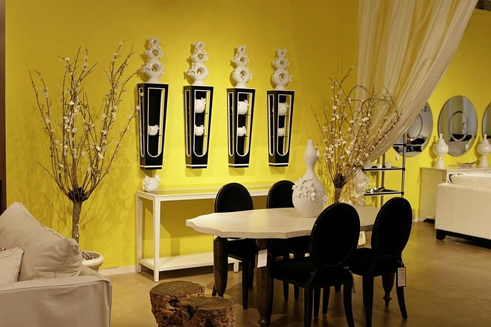 Белый+черный+желтый цвет в интерьере