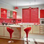 Красный цвет в интерьере кухни - фото