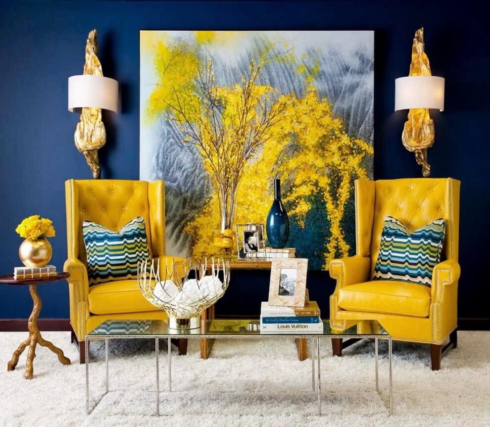 Синий и желтый в интерьере