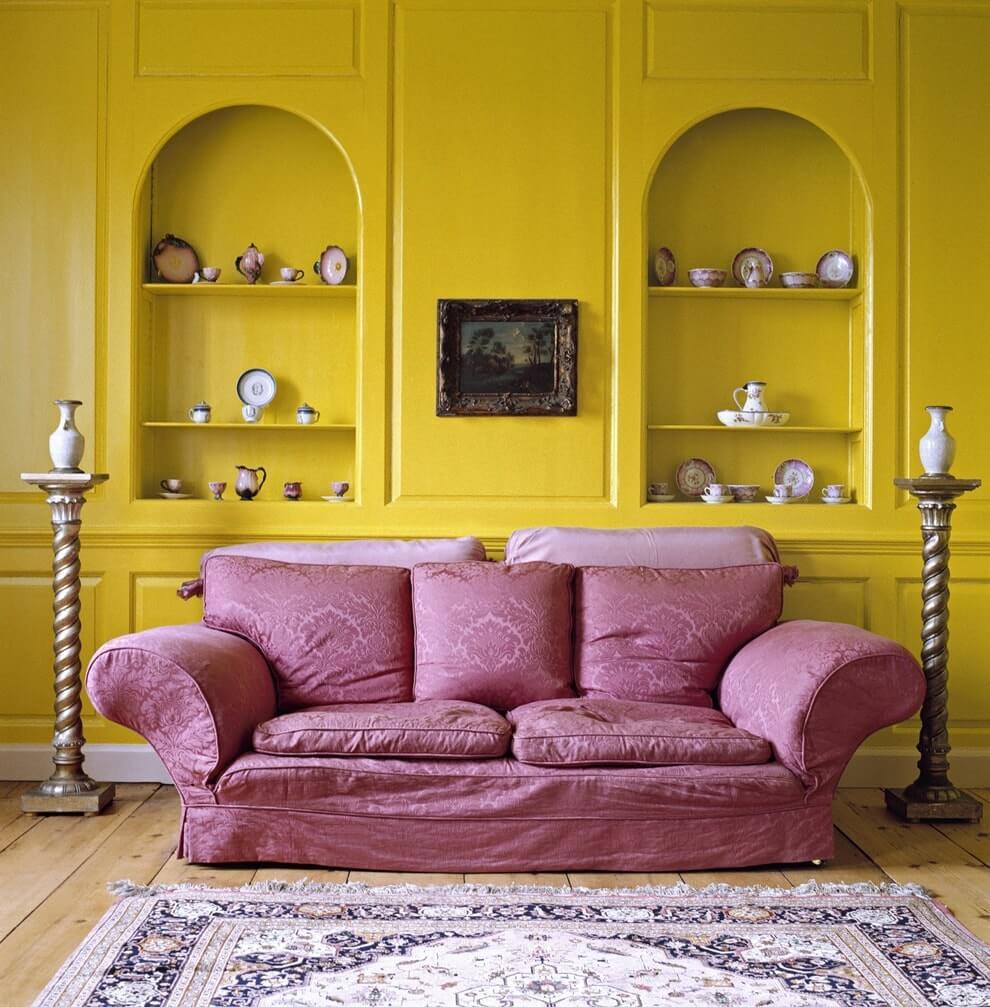 Фиолетовый и желтый в интерьере