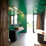 Зеленые стены в ванной комнате - фото