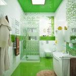 Зеленый пол в ванной комнате - фото