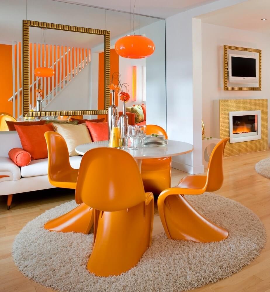 Оранжевые акценты в интерьере