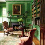 Зеленый цвет в интерьере библиотеки - фото