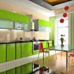 Кухонная мебель в зеленом цвете
