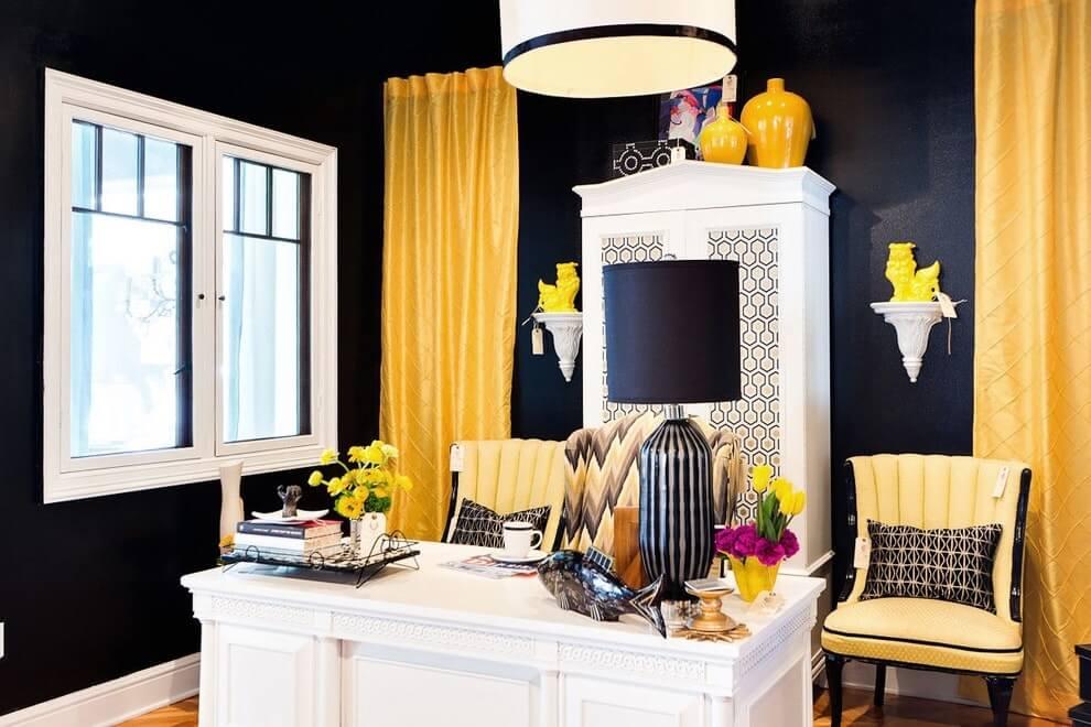 Желтый цвет в интерьере кабинета