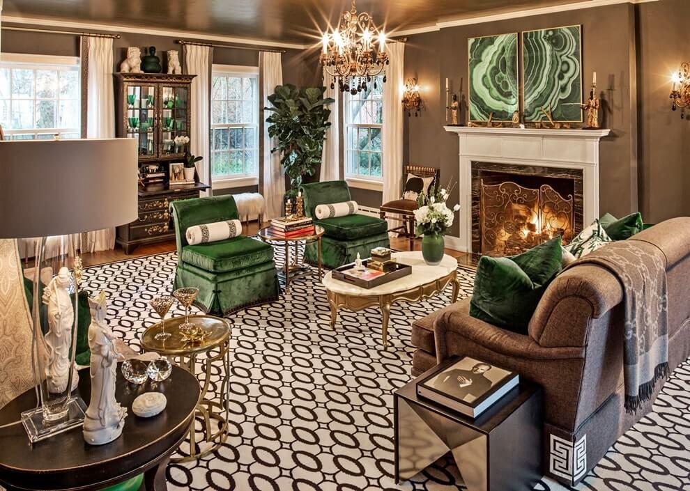 Сочетание серого и зеленого в интерьере гостиной