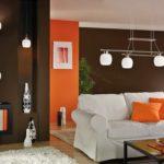 Оранжевый и коричневый цвет в интерьере