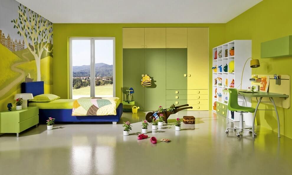 Сочетание желтого и зеленого в интерьере детской комнаты