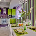 Оригинальное оформление кухни в зеленом цвете